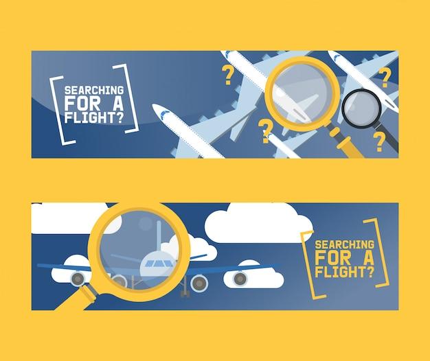 Vlucht zoeken en vliegtuig tickets service concept set van banners vector illustratie.