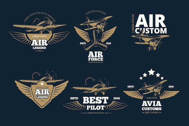 Vluchtavonturen vector logo's en labels. luchtlegende gewoonte en kracht, beste pilootillustratie