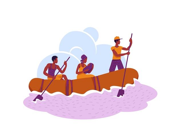 Vluchtelingen in boot spandoek, poster. migranten overschrijden landgrens tekens op cartoon achtergrond. emigrantenfamilie ontsnappen aan afdrukbare patch, kleurrijk element