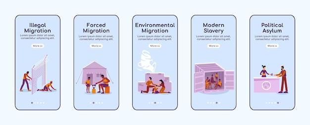 Vluchtelingen onboarding platte schermsjabloon voor mobiele app. illegale en gedwongen migratie. doorloop website-stappen met tekens. ux, ui, gui cartoon-interface voor smartphones, set hoesjes