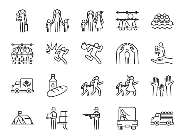 Vluchtelingen pictogrammenset.