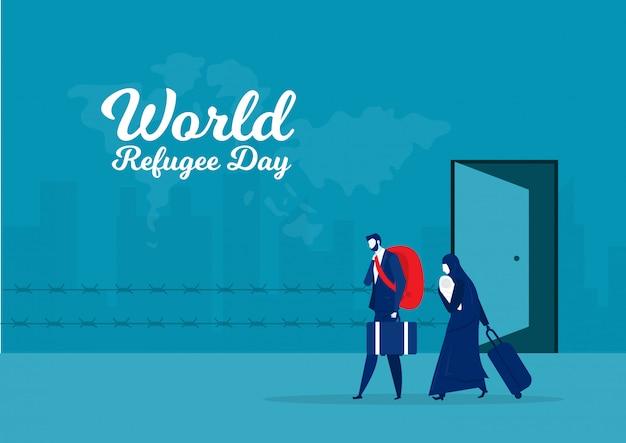 Vluchtelingen wereldmigrantendag. oorlog en crisis in het land.