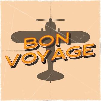 Vluchtposter in retro stijl. bon voyage citaat. vintage hand getekend reizen vliegtuig ontwerp voor t-shirt, mok, embleem of patch. voorraad vector retro illustratie banner met tweedekker en tekst.