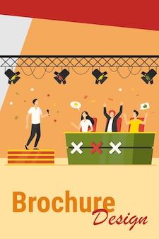 Vocaal wedstrijdevenement. performer zingt op het podium voor juryberoemdheden. vectorillustratie voor tv-talentenjacht, televisie, wedstrijdconcepten