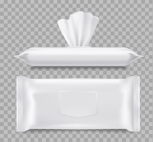 Vochtige doekjes verpakking, gezondheidszorg 3d. papieren of stoffen servetten, sluit en open blanco verpakkingen met tissuedoekjes. Premium Vector