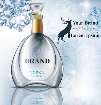 Vodka realistische fles mock up. product verpakking merkontwerp. plaats voor teksten