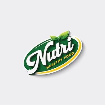 Voeding gezonde voeding typografie logo sjabloon