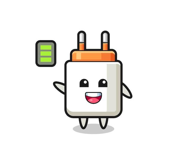 Voedingsadapter-mascottekarakter met energiek gebaar, schattig ontwerp