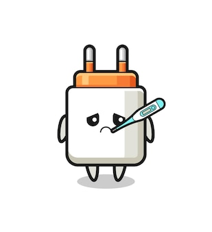 Voedingsadapter-mascottekarakter met koorts, schattig ontwerp