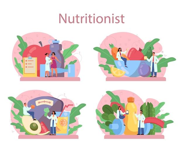 Voedingsdeskundige concept set. dieetplan met gezonde voeding en lichamelijk