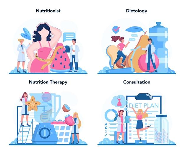 Voedingsdeskundige concept set illustratie