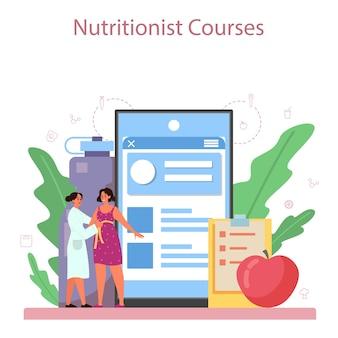 Voedingsdeskundige online service of platform. dieetplan met gezonde voeding en lichamelijke activiteit. voedingsdeskundige blog.