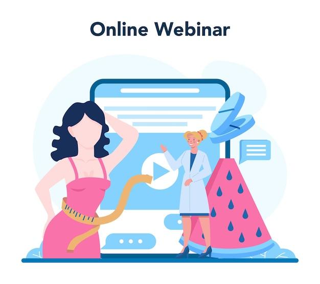 Voedingsdeskundige online service of platform. voedingstherapie met gezonde voeding en lichamelijke activiteit.
