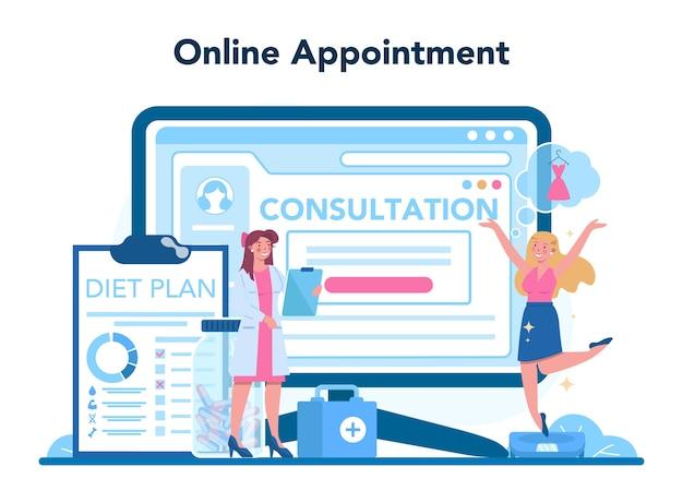 Voedingsdeskundige online service of platformillustratie