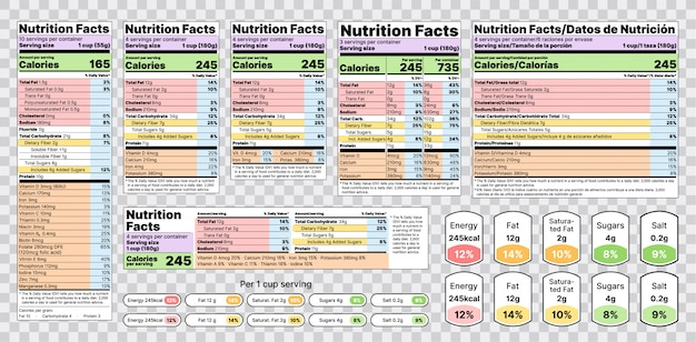 Voedingsfeiten label. illustratie. set tabellen voedselinformatie.