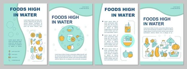 Voedingsmiddelen hoog in water blauwe brochure sjabloon. vruchten, groenten. flyer, boekje, folder afdrukken, omslagontwerp met lineaire pictogrammen. vectorlay-outs voor presentatie, jaarverslagen, advertentiepagina's