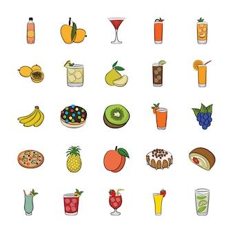 Voedsel artikelen pictogrammen