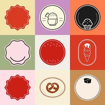 Voedsel badge element vector set