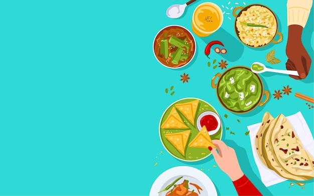 Voedsel banner, bovenaanzicht van mensen die samen genieten van indiaas eten.