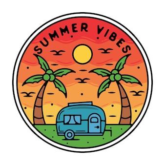 Voedsel caravan monoline vintage outdoor badge ontwerp