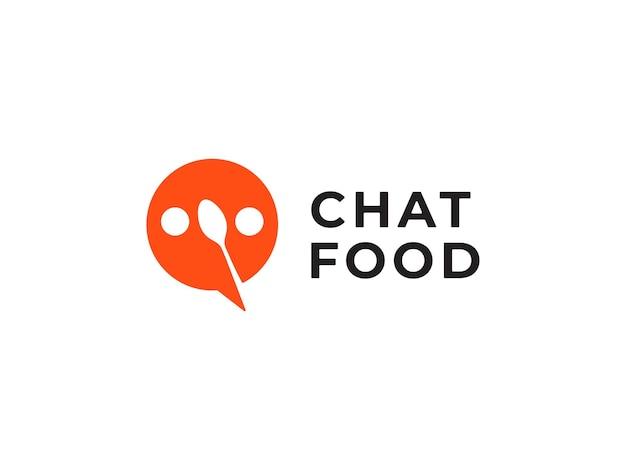 Voedsel chat logo ontwerpconcept