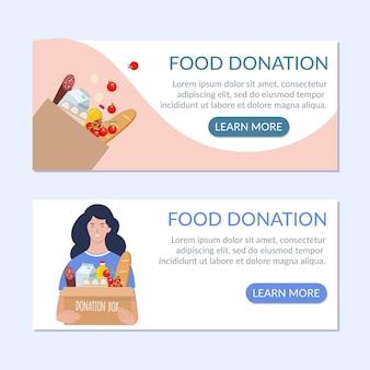 Voedsel donatie banner ambachtelijke tas met verschillende producten erin.