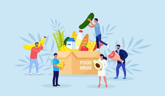 Voedsel donatie concept. kleine mensen vullen kartonnen donatiedoos met verschillende producten voor hulp aan arme mensen in opvang. vrijwilligerswerk en liefdadigheid, humanitaire hulp. vrijwilligers doneren boodschappen
