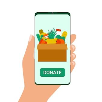 Voedsel doneren aan mensen op smartphone. doos met voedsel voor behoeftigen. aanvraag voor humanitaire hulp. concept van vrijwilligerswerk en liefdadigheid.