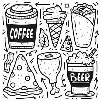 Voedsel doodle cartoon kleuren ontwerp