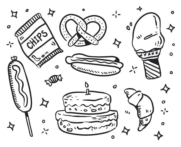 Voedsel doodle illustratie