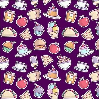Voedsel doodle patroon achtergrond