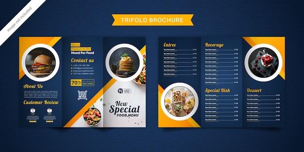 Voedsel driebladige brochure menusjabloon.