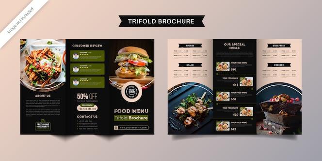 Voedsel driebladige brochure sjabloon. fastfood menubrochure voor restaurant met groene en donkerblauwe kleur.