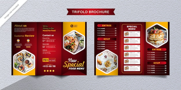 Voedsel driebladige brochure sjabloon. fastfood-menubrochure voor restaurant met rode en gele kleur.