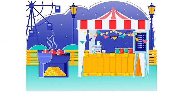 Voedsel eerlijke tent met bunting op dak in carnaval