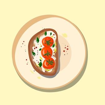 Voedsel ei toast op plaat