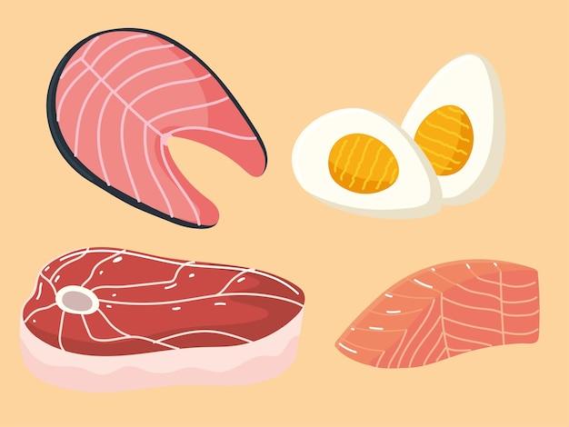 Voedsel eiwit vis vlees ei