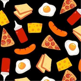 Voedsel elementen patroon achtergrond