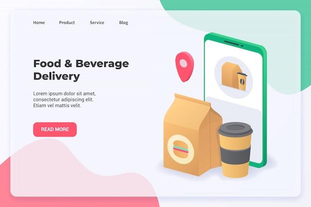 Voedsel- en drankbezorgingscampagne-concept voor het landen van websitesjablonen