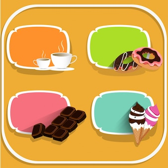 Voedsel- en drinklabels met koffie, donuts, chocolade en ijsjes op gele achtergrond.
