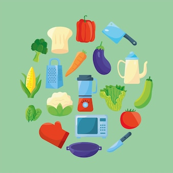 Voedsel en keukengerei rond pictogrammen