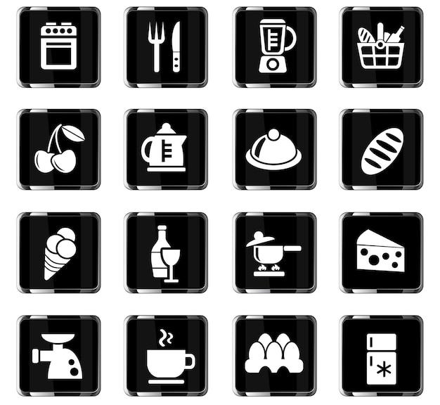 Voedsel- en keukenwebpictogrammen voor gebruikersinterfaceontwerp