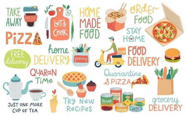Voedsel en quarantaine covid19-letters en andere elementen