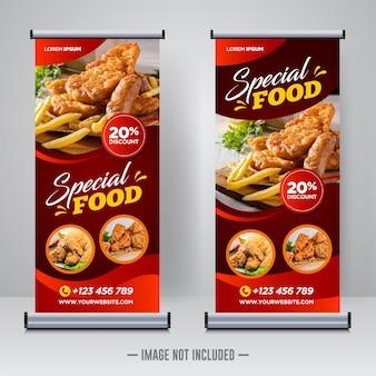 Voedsel en restaurant roll-up banner ontwerpsjabloon