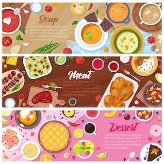 Voedsel gekookte maaltijd soep vlees en zoete dessertcake met fruit in restaurant menu illustratie set erwtensoep in kom en biefstuk op plaat op witte achtergrond