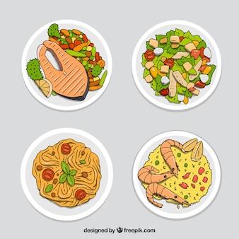 Voedsel gerechten collectie met bovenaanzicht