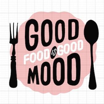 Voedsel gerelateerd typografisch citaat. ontwerp van het voedsel het oude embleem. vintage keuken print element met vork en lepel