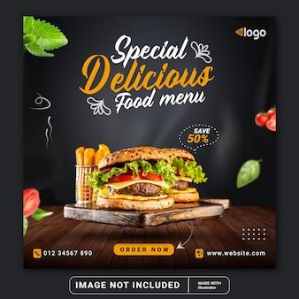 Voedsel hamburger sociale media instagram post sjabloon voor spandoek of vierkante flyer