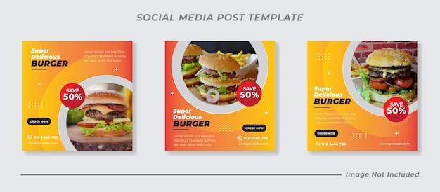 Voedsel hamburger sociale media instagram post sjabloon voor spandoek