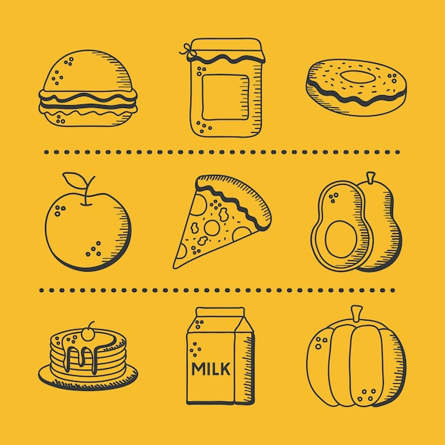 Voedsel hand tekenen en lijn stijl icon set ontwerp van restaurant eten en menu thema illustratie
